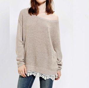 Pins & Needles Crochet Lace Trim Knit Sweater M
